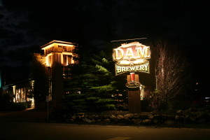 Dillon Dam Brewery Sign At Night In Colorado