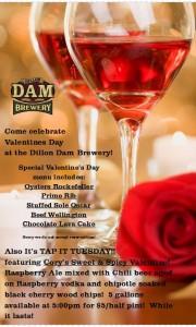 Dillon Dam Brewery Valentines Menu